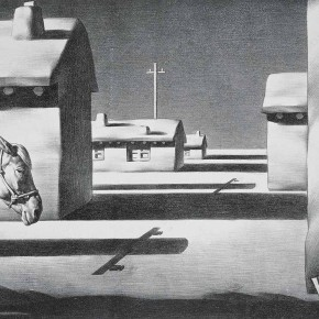 "Su Xinping, ""Quiet Town"" No.1, 1989; lithograph, 67 x 50 cm"