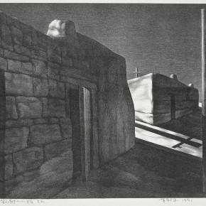 "Su Xinping, ""Quiet Town"" No.2, 1991; lithograph, 69 x 52 cm"