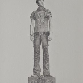 "Tang Hui, ""Square Model""01, 2010; sketching on aluminum plate, 120 x 60 cm"