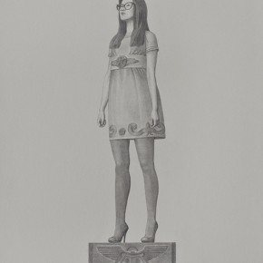 "Tang Hui, ""Square Model""02, 2010; sketching on aluminum plate, 120 x 60 cm"