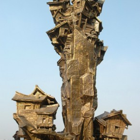 "Top2 Sculpture of stilted houses ""Memory Mountain Town"" in Chongqing"