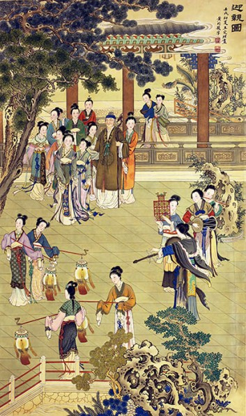 Wang Dingli, The Figure of Welcoming the Relatives, 1982; ink and color on silk, 133.5x78.5c m