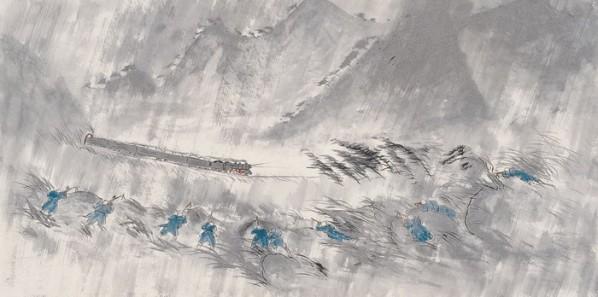 "Wu Yi, ""Night"", ink on paper, 70×140 cm, 2012"