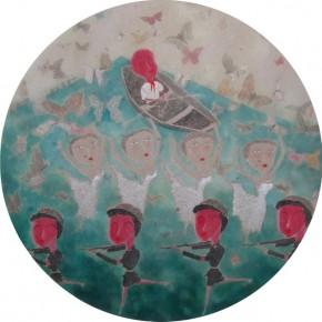"Yan Yongjun, ""Dreams Dancing Butterflies"", ink and color on paper, 148×148 cm, 2012"