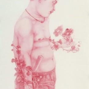 "Yang Shewei, ""Pink Men Series Pink Leopard"", ink on paper, 172×92 cm, 2012"
