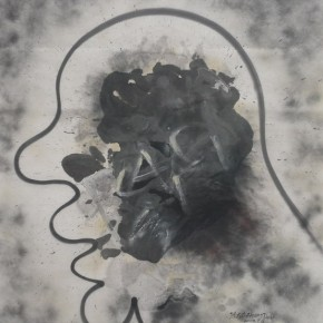 """Zhang Dali, """"N.1"""", ink and spray paint on paper, 189.5×151 cm, 2008"""