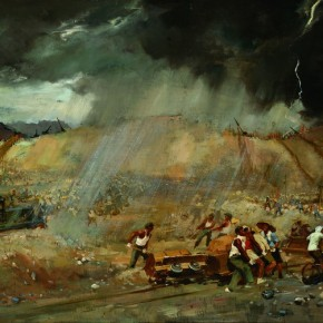 "Ai Zhongxin, ""Ming Tombs in the Thunderstorm"", 1958; oil on canvas, 100×138 cm ©CAFAM"