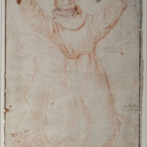 Circle of Guido Reni (Bologna 1575-1642), Red chalk of two shades, pen and brown ink framing lines Courtesy YUAN Space