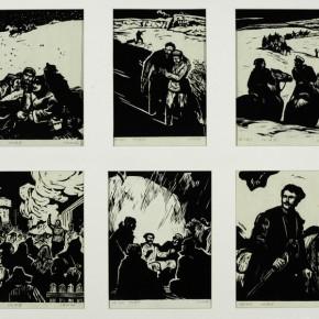 "Dong Biduan, ""The Chabanenko Aliyev"" 1956; comics, monochrome woodcut print, 28×22 cm×6 ©CAFAM"