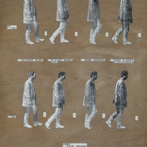 "Geng Jianyi, ""Two Four-Steps"", 1991; collage on wood, 122x97.5cm"