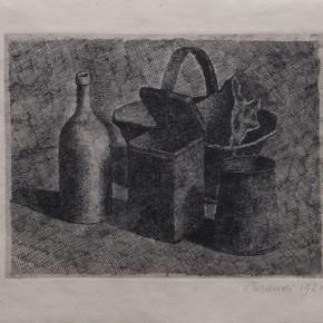 Giorgio Morandi, Natura morta con il cestino del pane, Etching, 1921 Courtesy YUAN Space