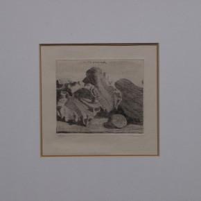 Giorgio Morandi, Natura morta con vaso, conchiglie e chitarra, Etching, 1921 Courtesy YUAN Space