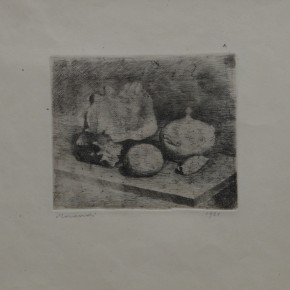 Giorgio Morandi, Natura morta con zuccheriera, conchiglie e frutto, Etching, 1921 Courtesy YUAN Space