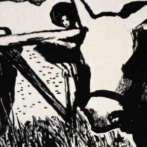 "Guang Jun, ""When does it end"", 1980; monochromic woodcut, 44×60 cm ©CAFAM"