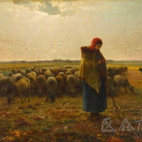 "Jean Francois Miller, ""Shepherdess and Her Flock"""
