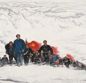 "Jia Youfu, ""Thousand Miles of Snow on Min Mountain"", 1956; Chinese Painting, 142×350 cm ©CAFAM"