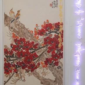 La Rivoluzione siamo noi Yang Jiechang 280×550cm. Ink and acrylic on canvas, neon 2012