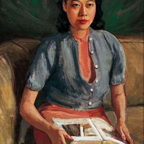 "Li Tiefu, ""Portrait of Liu Suwei"", 1942; oil on canvas, 102×77cm"