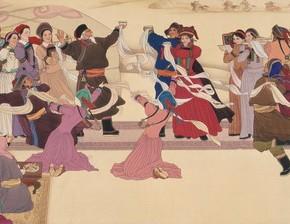 """Liu Dawei, """"Buryat Wedding"""", 1980; Chinese painting, 72×223 cm©CAFAM"""