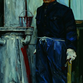 "Liu Xiaodong, ""Painter"", 1991; oil on canvas, 160×91 cm ©CAFAM"