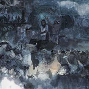 "Nie Ou, ""Bronze Times No.1"", 1980; Chinese painting, 123×225 cm©CAFAM"