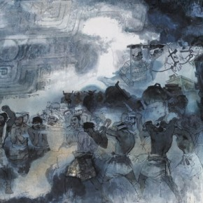 "Nie Ou, ""Bronze Times No.2"", 1980; Chinese painting, 123×225 cm©CAFAM"