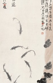 """Qi Baishi, """"Chicken and Fish"""", 1928; ink on paper, 142×41.5cm"""