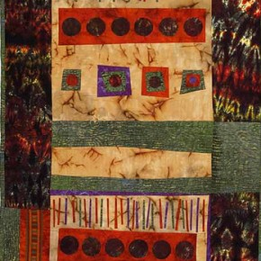 Sticks & Stones, I by Carolyn Mazioomi, PhD, West Chester, OH, 2009; Batiks and commerical and hand-dyed cottons, 35x63 inches Photo by Mike Jensen Courtesy the artist