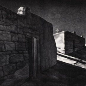 "Su Xinping, ""Quiet Town No.2"", 1991; lithograph, 53×68 cm ©CAFAM"