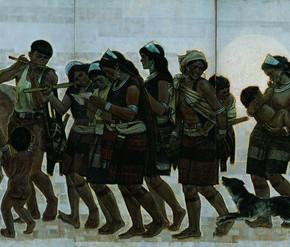 """Sun Jingbo, """"People from Awa Mountain"""", 1980; oil on canvas, 180×100 cm©CAFAM"""