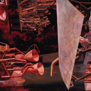 "Tang Hui, ""A Crash in the Space No.1"", 1991; oil on canvas, 244 x 362 cm ©CAFAM"