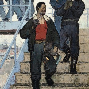 "Tuomusi, ""Steel Blast Furnace"", 1963; oil on canvas, 276×176 cm ©CAFAM"
