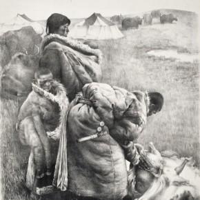 """Wu Changjiang, """"Slaughter Sheep"""", 1982; printmaking, 88×68 cm©CAFAM"""