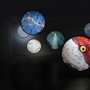 "Wu Junyong, ""Thousands of Moon"", 2012; Nine channel animation with sound, 4 min 01"
