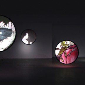 "Wu Junyong, ""Thousands of Moon"", 2012; Nine channel animation with sound, 4 min 02"