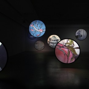 "Wu Junyong, ""Thousands of Moon"", 2012; Nine channel animation with sound, 4 min 03"