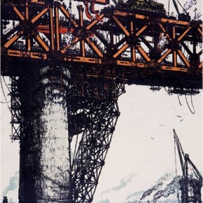 """Wu Shi, """"The Last Steel Girder"""", 1957; ink and color on paper, 80.5cm×53cm"""