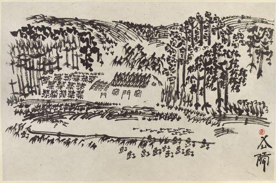 Xu Bing, Landscript, 2001; painting, album leaf, ink on paper, 48.9x74.5cm