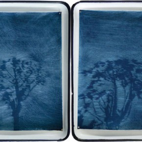 Yu Aijun, Shadow Movement, 2012; carbon paper, oil ink, oil and medical tray, 51.5×37.5 cm ×15