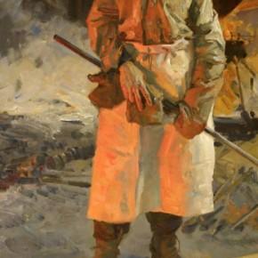 "Yu Yunjie, ""Steel Worker"", 1957; oil on canvas, 143×72 cm ©CAFAM"