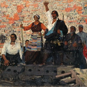 "Zhao Youping, ""Million of Serfs Stand Up"", 1964; oil on canvas, 194×284 cm ©CAFAM"