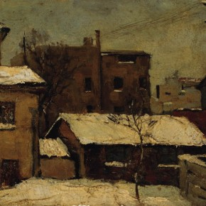 "Zhu Naizheng, ""Old House After Snow"", 1960; oil on broad, 13.5×17.7 cm ©CAFAM"