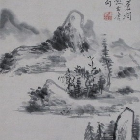 "07 Huang Binhong ""Imitation of Yuan Dynasty Landscape"" light ink hanging scroll 290x290 - Huang Binhong's Special Exhibition of Landscape Painting on Display at Anhui Museum"