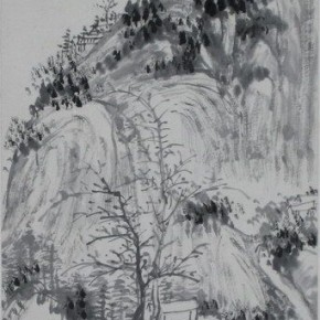 "08 Huang Binhong ""The Elderly Village of Guan County Figure"" light ink hanging scroll  290x290 - Huang Binhong's Special Exhibition of Landscape Painting on Display at Anhui Museum"