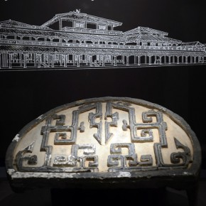 "09 A roof tile end from 200 BC is on display under a sketch of the building 290x290 - Asian Art Museum celebrates its 10th anniversary with exhibition ""China's Terracotta Warriors: The First Emperor's Legacy"""
