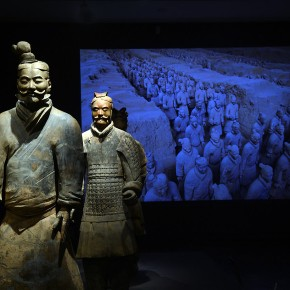 "13 Two Terracotta Warriors stand guard by a projected photograph showing the original excavation site 290x290 - Asian Art Museum celebrates its 10th anniversary with exhibition ""China's Terracotta Warriors: The First Emperor's Legacy"""