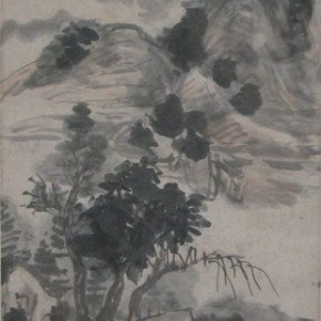 "16 Huang Binhong ""Cangjiang River in the Deep Rain Figure"" colored ink on paper hanging scroll  290x290 - Huang Binhong's Special Exhibition of Landscape Painting on Display at Anhui Museum"
