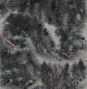 "17 Huang Binhong ""The Mountains Surrounded by Clouds"" colored ink on paper hanging scroll  284x290 - Huang Binhong's Special Exhibition of Landscape Painting on Display at Anhui Museum"