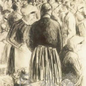 """Camille Pissarro, """"Pontoise Wholesale Market of Poultry"""", 1895"""