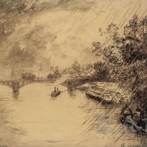 """Felix Bracquemond, """"The Scenery of Saint Pere Bridge"""", 1877"""